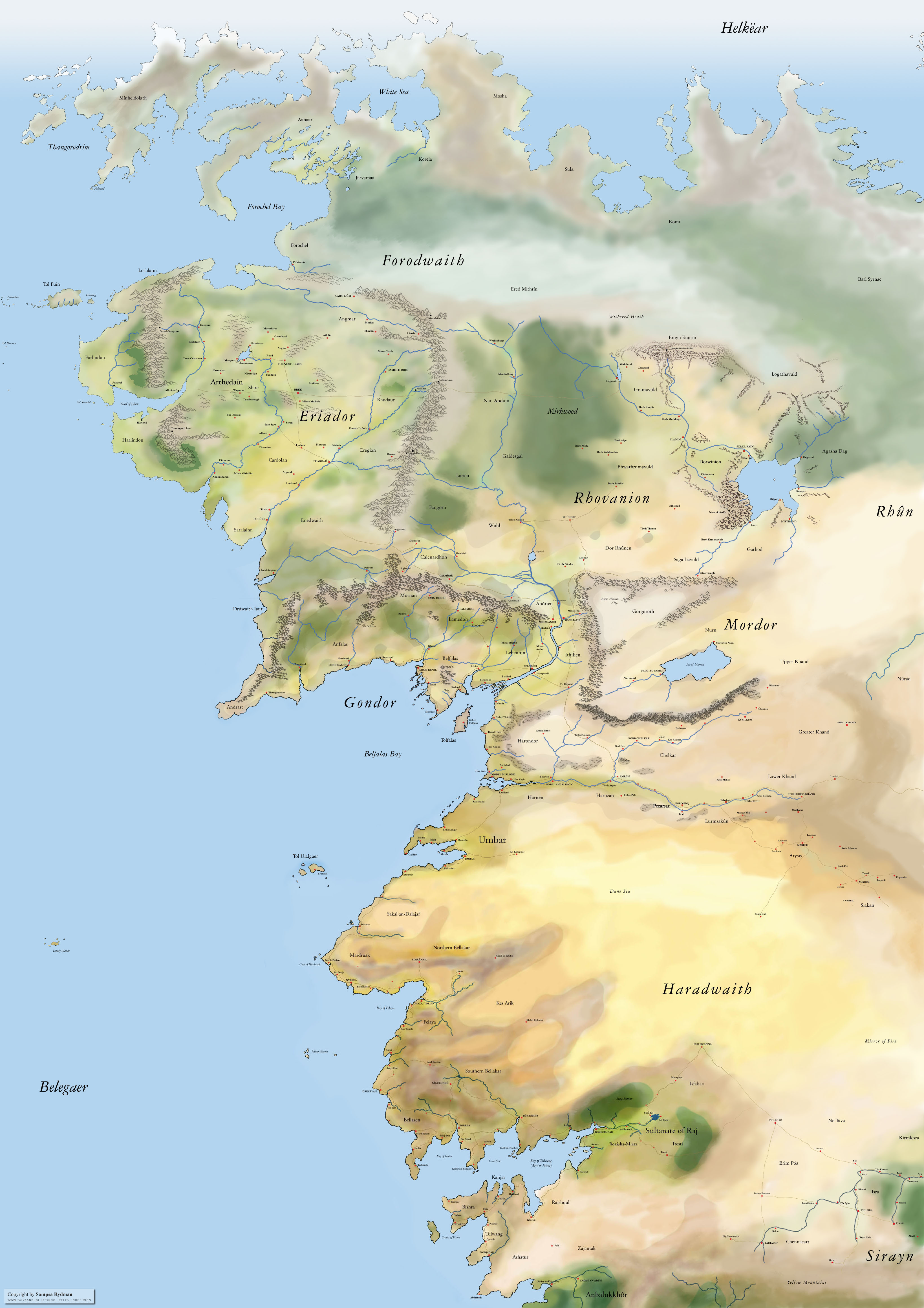 Lind firion Collection of Maps by Sampsa Rydman – Map of Middle Earth